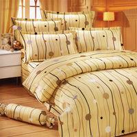 艾莉絲-貝倫 跳動的音符-單人五件式(100%純棉)鋪棉床罩組(米黃色)