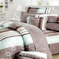 艾莉絲-貝倫 甜蜜圈圈-單人五件式(100%純棉)鋪棉床罩組(咖啡白)