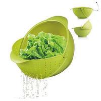 PUSH! 廚房用品 有加蓋水果蔬菜麵條清洗籃瀝水籃洗菜籃(大號)D50