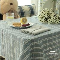 【協貿】地中海方格棉麻藍色蕾絲小清新餐桌布藝蓋巾