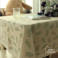 【協貿】橄欖枝棉麻蕾絲小清新田園餐桌布藝蓋巾