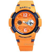 Baby-G CASIO / BGA-210-4B 卡西歐復古街頭運動球衣橡膠腕錶 橘x深籃框 43mm