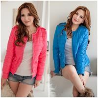 (現貨)Bubble❤CoCo 時尚肩釦亮色繽紛保暖棉衣短外套(六色)UB353