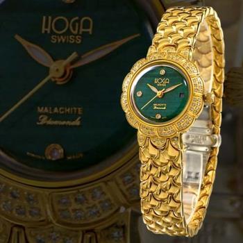 HOGA 高貴王妃虎眼寶石機械真鑽錶-琥珀色/綠色-33mm