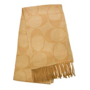 【COACH】羊毛流蘇LOGO C長圍巾 / 米