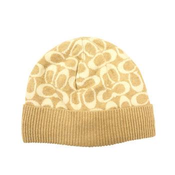 【COACH】秋冬新款羊毛毛線帽 / 米