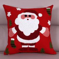 【協貿】時尚百搭聖誕節禮物毛巾繡刺聖誕老人方形抱枕含芯