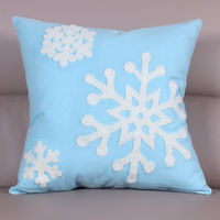 【協貿】時尚百搭聖誕節禮物毛巾繡刺藍底雪花方形抱枕含芯