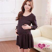 天使霓裳 哺乳衣 時裝風格 網點風居家孕婦套裝月子服(黑F) -UE1202