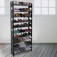 【LIFECODE】可調式十層鞋架/可放30雙鞋 (黑色)-行動