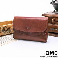 OMC - 時尚精工牛皮原皮多卡零錢袋中夾