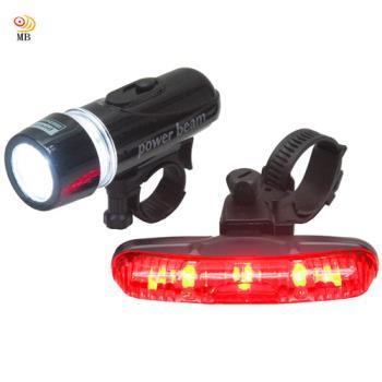 月陽MB自行車超亮5LED貓眼前燈頭燈防水3段長尾燈組(FY201)