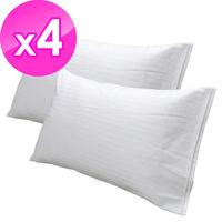 【法式寢飾花季】純品良織-細條紋開口式枕套X4件組