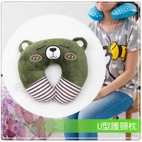 短絨毛U型護頸枕-害羞綠熊
