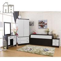 【AT HOME】威尼斯胡桃白雙人臥室四件組(床頭箱+床頭櫃+化妝台+衣櫃)