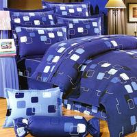 艾莉絲-貝倫 幾何方形-單人三件式(100%純棉)薄被套床包組(藍色)