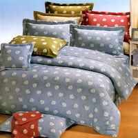 艾莉絲-貝倫 圓素心靈(5.0x6.2呎)四件式雙人(高級混紡棉)薄被套床包組(藍色)