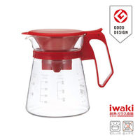 【iwaki】新款滴漏式玻璃咖啡壺 600ml(紅)