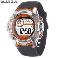 JAGA 捷卡 M1071-AI 抗震帥氣運動多功能電子錶-黑橙
