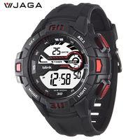 JAGA 捷卡M1081-AG  blink 帥氣有勁運動型多功能電子錶-黑紅