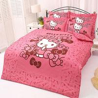 【享夢城堡】HELLO KITTY 我的小可愛系列-單人純棉床包兩用被組(粉)(紅)