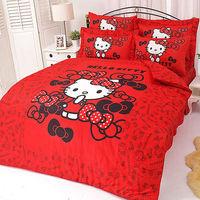 【享夢城堡】HELLO KITTY 我的小可愛系列-雙人純棉床包薄被套組(粉)(紅)