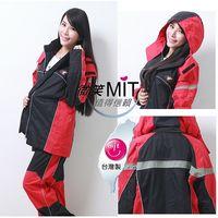 BrightDay風雨衣兩件式 - MIT蜜絲絨重機款-經典紅