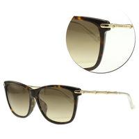 【GUCCI】時尚竹節系列-飛行款茶色琥珀太陽眼鏡(GG3793/F/S-LVLCC)