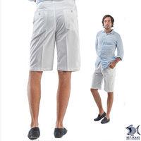 【NST Jeans】390(9360) 存菁白色印花_休閒短褲(中腰鬆緊帶修身版)-行動