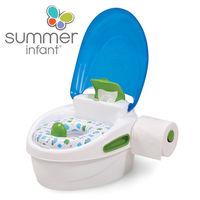 【美國Summer Infant】豪華3合1兒童馬桶練習組(藍色)-行動