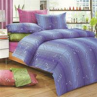 艾莉絲-貝倫 寄羽相思(5.0呎x6.2呎)四件式雙人(高級混紡棉)薄被套床包組(藍色)