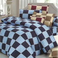 艾莉絲-貝倫 格子物語(5.0呎x6.2呎)四件式雙人(高級混紡棉)薄被套床包組(雙藍色)