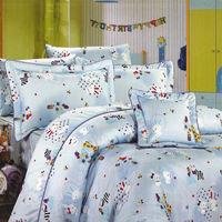 艾莉絲-貝倫 可愛家族(5.0呎x6.2呎)四件式雙人(高級混紡棉)薄被套床包組(淡藍色)