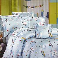 艾莉絲-貝倫 可愛家族(6.0呎x6.2呎)四件式雙人加大(高級混紡棉)薄被套床包組(淡藍色)