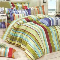 艾莉絲-貝倫 幾何線條(3.5呎x6.2呎)三件式單人(高級混紡棉)薄被套床包組(綠色)