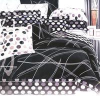 艾莉絲-貝倫 幸福的樂章-雙人四件式(100%純棉)薄被套床包組(黑色)