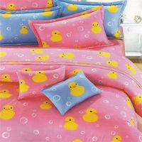 艾莉絲-貝倫 伊比鴨鴨-單人三件式(100%純棉)鋪棉兩用被套床包組(粉紅色)
