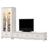 【時尚屋】[UZ6]凡尼斯8.65尺烤白L型電視櫃UZ6-215-6