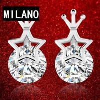 【米蘭精品】925純銀耳環耳針式鑲鑽耳飾星星皇冠