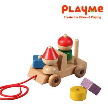 PlayMe歡樂禮物車 木製拖拉玩具