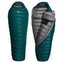 【OutdoorBase】Snow Monster-頂級羽絨保暖睡袋匈牙利白鴨絨FP700+UP loft Premium Duck 極輕量羽絨睡袋-24660(孔雀綠.深灰/600g)-行動