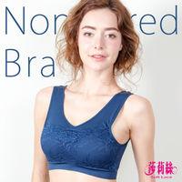 【莎莉絲】高彈力蕾絲抹胸舒適運動內衣/M-XL(午夜藍)