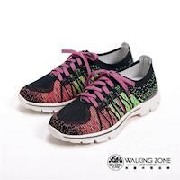 【WALKING ZONE】飛線氣墊慢跑鞋 彩虹針織運動鞋 情侶鞋(男款)-紫(另有藍)