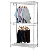 【莫菲思】百變金鋼-雙吊桿三層衣櫥架120x45x195cm