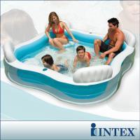INTEX 方型有靠墊透明戲水游泳池(229*229cm)(882L)