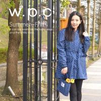 w.p.c抽繩收腰款 時尚雨衣/風衣(R9022)-深藍