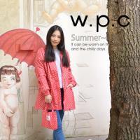 w.p.c抽繩收腰款 時尚雨衣/風衣(R9022)-桃紅