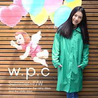 w.p.c率性修身款時尚雨衣/風衣(R1039)-湖綠