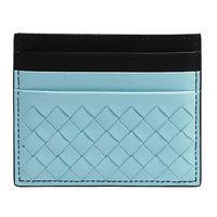 BOTTEGA VENETA 經典雙色小羊皮編織萬用票卡/證件名片夾(天藍X藏藍)