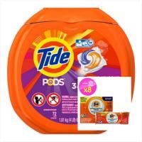 美國汰漬Tide 新一代洗衣凝膠球(1810g/72顆)*1*+ Tide洗衣槽洗潔劑-八包入(75g*8/盒)